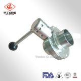 vannes papillon sanitaires de bride de soudure de l'acier inoxydable 304L/316L avec le traitement de bille