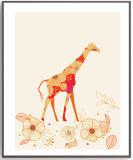 Peinture colorée moderne d'art de giraffe pour la décoration de mur