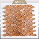 台所Backsplashのタイルのための熱い販売の光沢のある楕円形のガラスモザイク