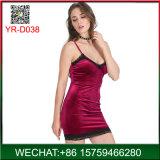 Großhandelshaut Pleuche Dame Slip Dress mit Spitze-Hersteller