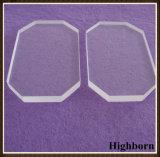 Glace claire anti-calorique de quartz avec le découpage faisant le coin