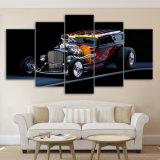 La pintura al óleo modular del cartel casero moderno de la decoración 5 pedazos de Rod caliente de deportes del coche de la lona del arte impreso HD de la pared representa la pintura de la lona del marco