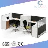 유리제 분할 (CAS-W31414)를 가진 대중적인 시트 2개 L 모양 사무실 테이블 목제 워크 스테이션