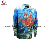 Mangas largas personalizada de prendas de vestir de pesca La pesca de sublimación de camisas para hombres