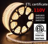 Luz de tira impermeável do diodo emissor de luz do certificado da alta tensão 110V/220V ETL/Ce