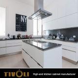 Hoge Glanzende Witte Keukenkast 2 PAC met het Ontwerp van de Luxe voor Flats TV-0013