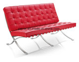 Silla de cuero del sofá de Barcelona de los muebles modernos con el otomano (PE-F66)