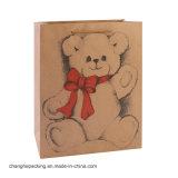 Suéter encantador del guante del oso Wedding la bolsa de papel de lana de Kraft que hace compras