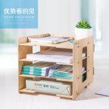 Rectángulo de almacenaje de madera de la oficina de DIY con 4 capas del estante