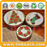 Reeksen van Drie Dozen van het Tin van de Gift van het Metaal van Kerstmis