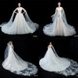 Мантия венчания платья большого длиннего поезда Aplliqued шнурка Bridal