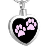 Ijd8247 Fashion Paw Heart en acier inoxydable Collier pendentif en crémier Memorial Sehes Keepsake Holder