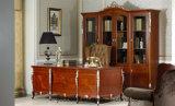 Color marrón claro 0036 con el escritorio de escritura tallado mano clásica de plata de madera sólida de la cubierta