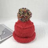 изготовленный на заказ<br/> моды дамы вязки шапки с POM POM
