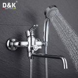 Mélangeur de baignoire de bec plaqué par chrome en laiton chaud de qualité de vente de prix bas de D&K long