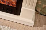Cheminée électrique découpée blanche faite sur commande pour décoratif intérieur