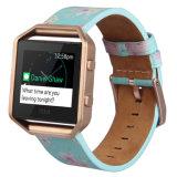 Luz de impressão personalizado Fitbit Azul Blaze Band bracelete de couro Pequena faixa de substituição da correia com estrutura metálica