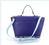 Manier van de Kleur van de Sluiting 2018 van de Klep van de Knoop van het Ontwerp van de fabriek de In het groot Originele Decoratieve Blauwe Dame Handbag