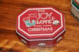 Weihnachtsachteckiger süsser Zinn-Kasten