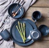 Vaisselle simple de qualité la seule a placé - le jeu en céramique de vaisselle de la Chine de couleur cyan