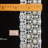 tissu de lacet de fleur de neige de polyester de blanc de 8.5cm, lacet de la géométrie pour les accessoires Hme828 de vêtements