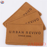 Пользовательское имя и размер торговой марки рельефным джинсы наклейка из натуральной кожи