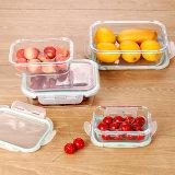 Vierecks-Glasmikrowellen-Nahrungsmittelbehälter mit wasserdichter Kappe
