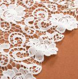 Tissu beige de lacet de coton de vêtement de textiles inoffensifs de matériaux