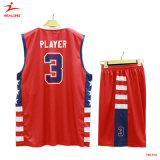 Healong Custom Latest Sportswear Red and Black Design Basketball Uniforms