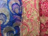 3D floresce a tela do laço do bordado, tela para o casamento, tela francesa do laço da cópia do casamento do laço