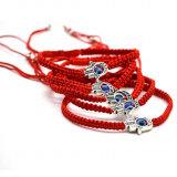 De regelbare Armbanden van de Charme van het Oog van de Draad van de Lengte Gelukkige Vreedzame Rode Blauwe