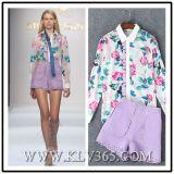 Chemise et pantalon estampés floraux de chemisier de modèle chemise de bonne qualité en gros de dames de longue