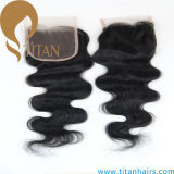 Pièces de cheveux humains remy brésiliennes avec des cheveux de bébé à la main attachés