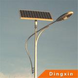 réverbère solaire de 9m DEL avec la lampe et la batterie de 80W DEL sur le dessus