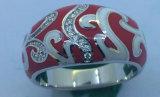 Rotes Polierdecklack-Silber-Schmucksache-Set