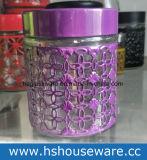 il disegno del fiore di formato di differenza 4PCS, vaso di vetro ha impostato con il coperchio del metallo, insieme di vetro della scatola metallica