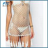 Häkelarbeit-Kittel-Deckel-Badebekleidungs-weiblicher gestrickter Häkelarbeit-Bikini-Deckel der reizvollen Frauen