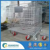 Entrepôt de stockage en acier d'empilage pliable Wire Mesh conteneur palette avec roulettes/roues