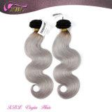 Moda Silver Color Body Wave Armadura de cabelo cinza brasileira