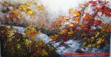 Het met de hand gemaakte Zware Olieverfschilderij van het Landschap van de Boom van de Bosbouw van het Blad van de Olie Rode