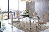 2016 New Design Eettafel Set Luxe Stainless Steel Marble Top Eettafel