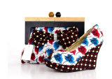 De nieuwe Schoenen van de Vrouwen van de Hiel van het Ontwerp Afrikaanse Afgedrukte Hoge met Zakken