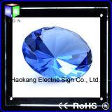 Caixa leve magro do diodo emissor de luz do cristal acrílico fixado na parede