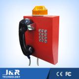 駐車場の電話は、ランプ、険しい電話が付いている無線電話にトンネルを掘る