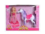En71承認はからかうおもちゃの馬(H1988010)が付いているプラスチック方法人形を