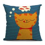 Ammortizzatore decorativo dei cuscini della federa di tela del cotone stampato stile divertente del gatto