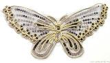 Il tessuto Sequined del collare del merletto di colori della farfalla borda gli accessori dell'indumento dei vestiti