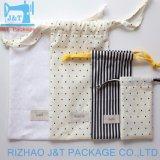 100% algodón natural o cordón de algodón de colores bolsa con la impresión