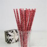Los items decorativos venden al por mayor la paja de papel de consumición del copo de nieve rojo