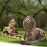 Escultura de mármol natural de la estatua de los leones, escultura animal